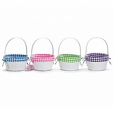 Bamboo Plaid White Easter Baskets