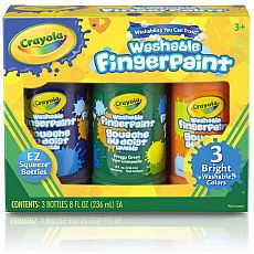 Washable Finger Paint, Secondary Bright Colors, 3ct